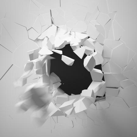壊れた壁、白い背景で隔離 写真素材