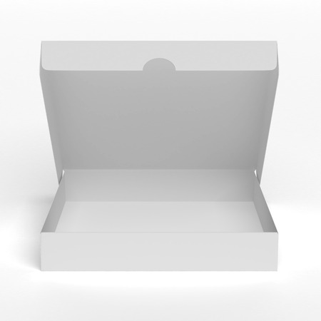 Blank flat opened box isolated on a white background photo