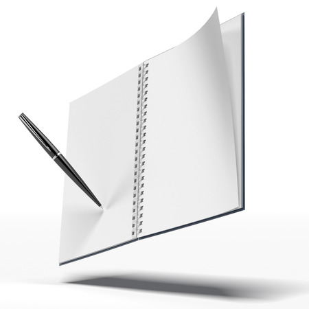 work book: notebook and pen isolated on a white background Stock Photo