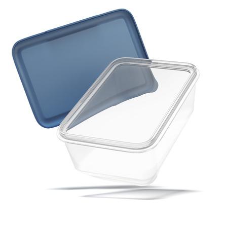 白い背景上に分離されて開かれたプラスチック透明食品容器