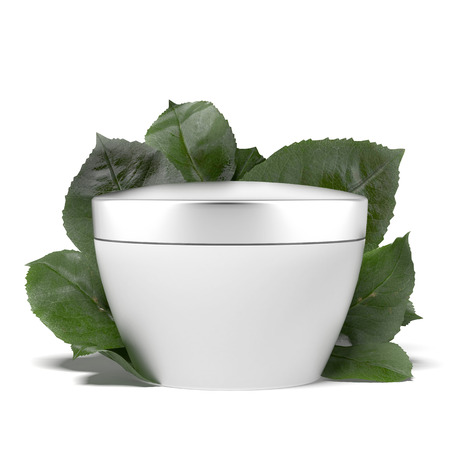 cosmetic container with green leafs isolated on a white background photo