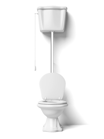 cistern: Toilet bowl isolated on a white background