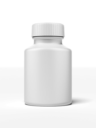 medicine box: white pill bottle isolated on a white background Stock Photo