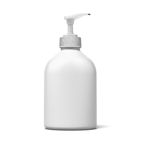 lotion: white plastic bottle  isolated on a white background