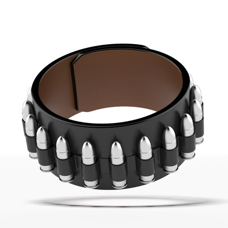 munition: Bullet bracelet isolated on a white background