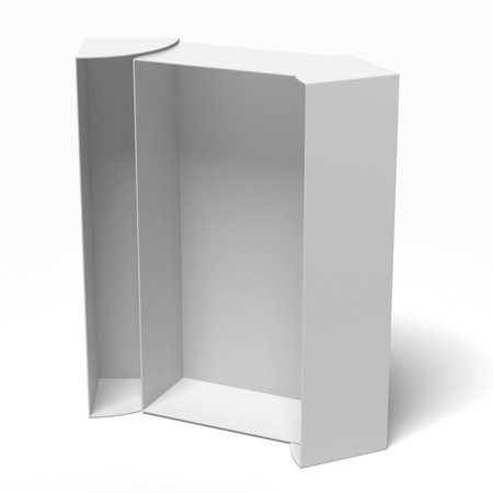 packer: white opened cardboard box isolated on a white background Stock Photo
