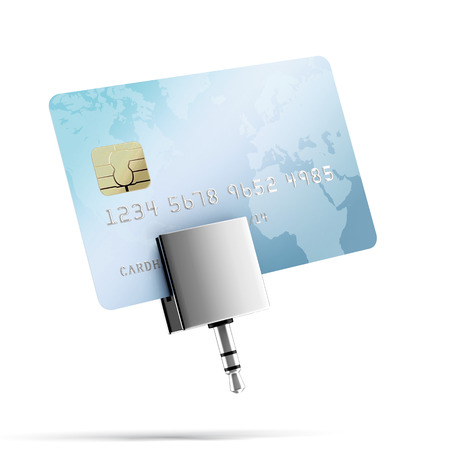 mobile credit card reader  isolated on a white background photo