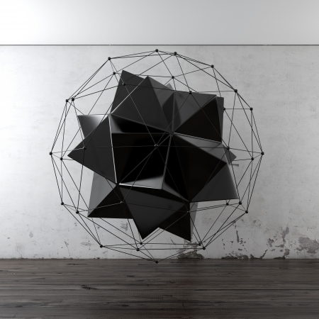 icosahedron: Geometric composition in interior Stock Photo