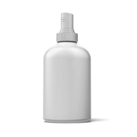 cream tube: White Spray Plastic Bottle  isolated on a white background Stock Photo