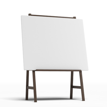 paper art projects: Easel with a blank sheet of white paper  isolated on a white background