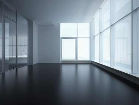perspective room: office interior with glass wall Stock Photo