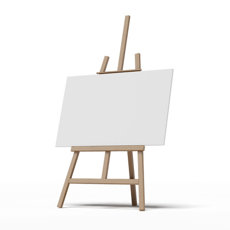 easel with empty canvas  isolated on a white background photo