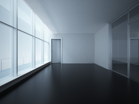 Empty White Room with Big Windows Stock Photo - 22403290