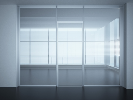 glass door: Empty office room with glass walls and doors