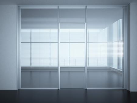 reflexion: Sala de oficina vacía con paredes de cristal y puertas