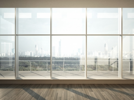 house render: view of city from wide window Stock Photo