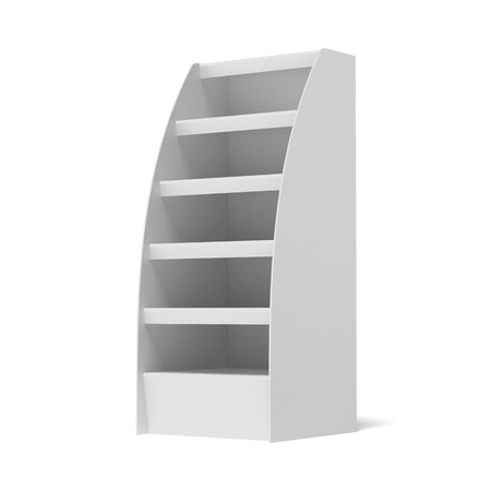 shop display: stand with shelves isolated on a white background