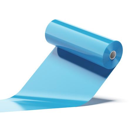 青い色のプラスチック ロール、白い背景で隔離 写真素材