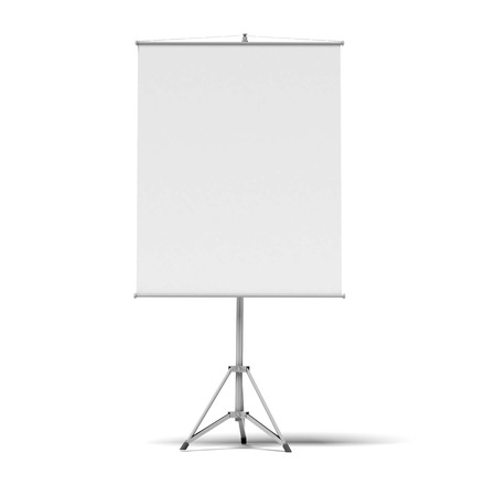 blank presentation roller screen isolated on a white background photo