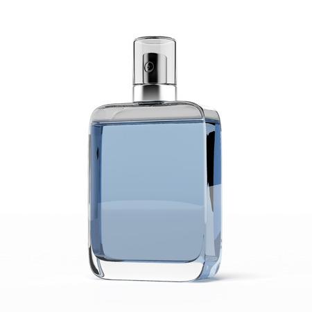 Perfume de los hombres aislados en un fondo blanco