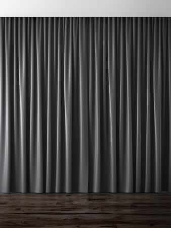 curtain: black curtains 3d render