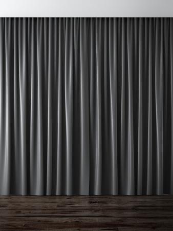 curtain theater: cortinas negras 3d render
