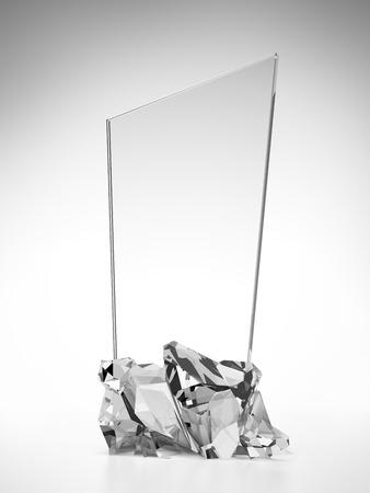 白い背景で隔離ガラス賞プレート 写真素材