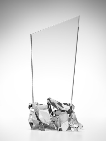 background trophy: glass award plate isolated on a white background