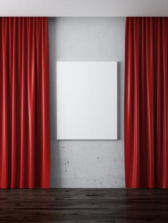 cortinas rojas: Interior con las cortinas rojas y marco en blanco 3d render Foto de archivo