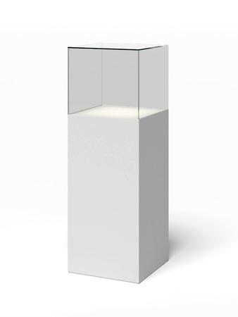 흰색 배경에 고립 된 빈 유리 쇼케이스 스톡 콘텐츠