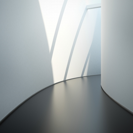 Hall with sunlight and white walls photo
