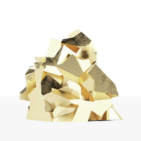 Gold Nugget  isolated on a white background Stock Photo