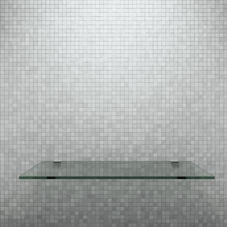 estanterias: Estante de cristal en la pared blanca Foto de archivo