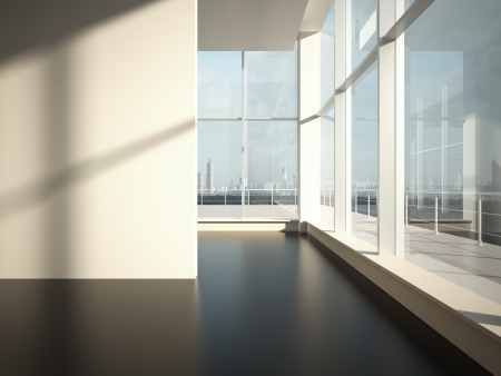 corner house: Empty room with sun light. Office space Stock Photo