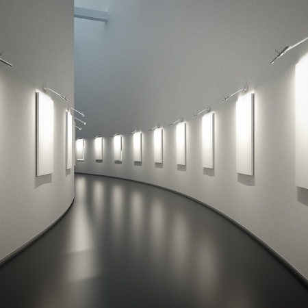 empty gallery  in a long hall
