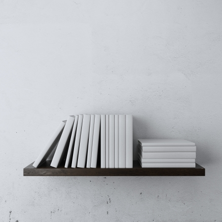 shelf with white books isolated on a white background photo