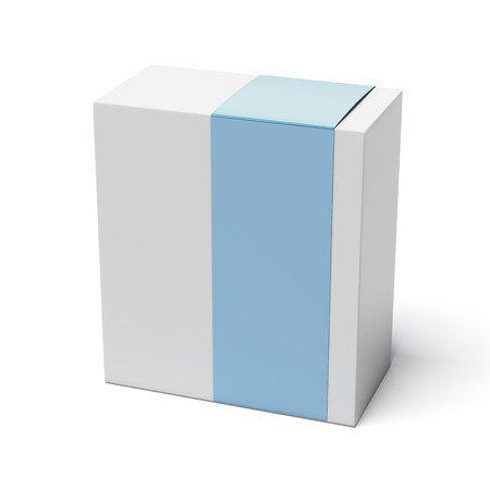 Blank box with blue cover isolated on a white background photo