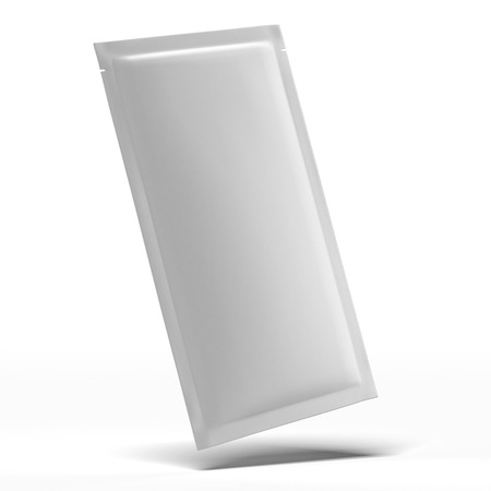 Long White Blank Foil Packaging  isolated on a white background photo