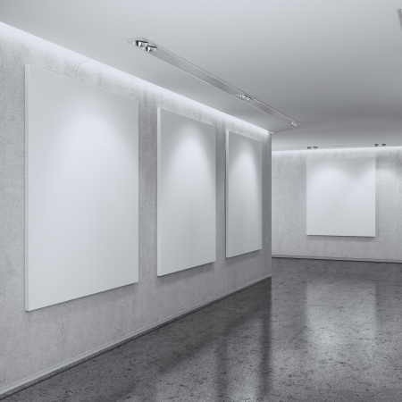 White Gallery Interior. 3d render photo