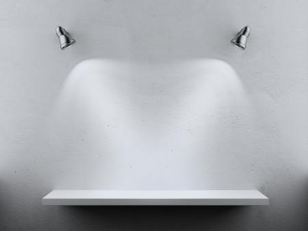Lege Plank twee spotjes die op een witte achtergrond