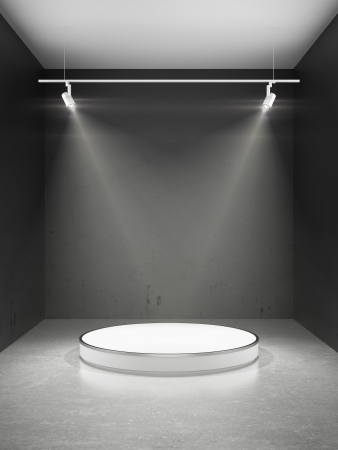 Empty stage in spot lights   3d render photo