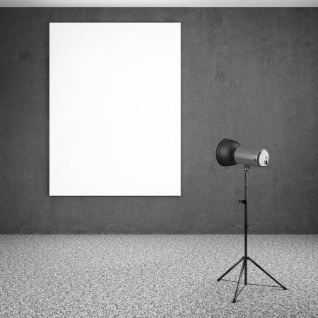 spotlight lighting blank white board 3d render photo