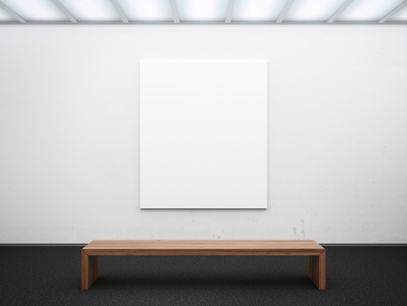 empty gallery with frame 3d render Stock Photo - 22403447