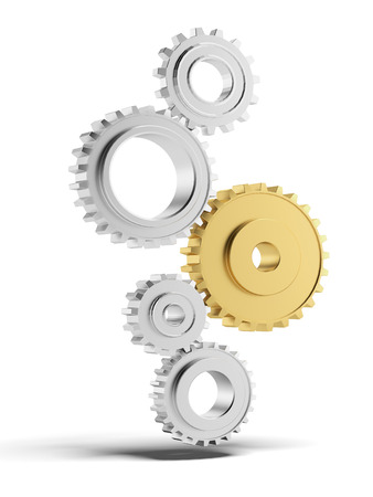 Silver and gold gears isolated on a white background photo