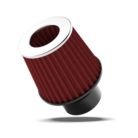 intake: red Air filter  isolated on a white background Stock Photo