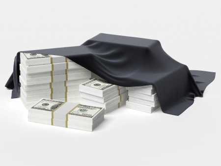 dollars under the cloth isolated on a white background Stock Photo - 22403461