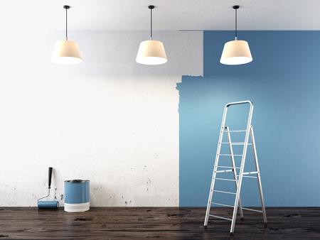 peintre en b�timent: Peinture sur le mur rendu 3d