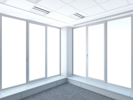 corner and windows 3d render Stock Photo - 22403471