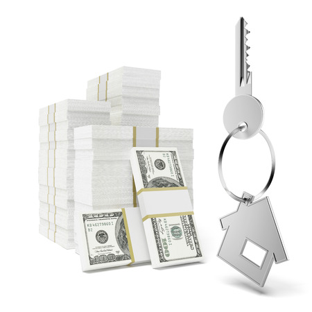 repossessing: House Keys on Stack of Money  isolated on a white background Stock Photo
