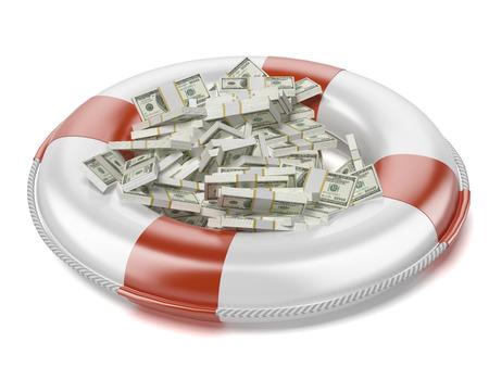 lifeline: Dollars in lifebuoy  isolated on a white background